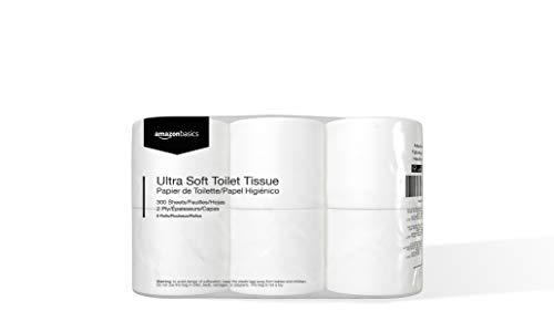 Amazon Basics Ultra Toilet Paper, 300 Sheets per Roll, 24 Rolls, 2-Ply