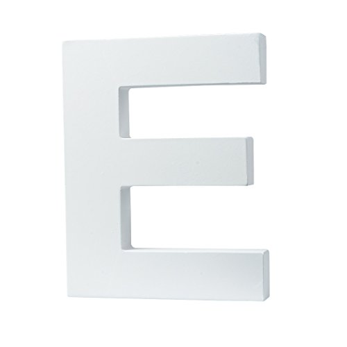 5.9'(L x4.5(H) x0.8(W) 12cmx11.5cmx2cm Wall Letters Marquee Alphabet E Wood Wooden Number DIY Block Words Sign Hanging Decor Letter for Home Bedroom Office Wedding Party Decor White