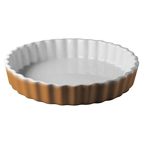 Leber Plat à tarte en céramique blanche et miel (32 x H 5,5 cm).