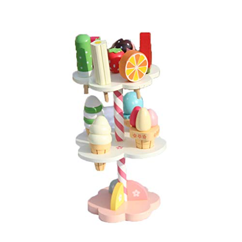 Kongnijiwa Juguetes para bebés de simulación de Helado Conjunto de Juguetes de Madera Comida de bebé, Juguetes Set Juegos de imaginación de la Cocina de Infantil del bebé Juega cumpleaños