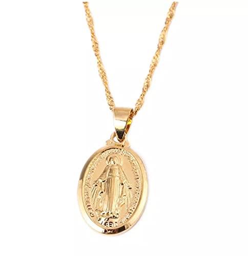 Collares pendientes de la Virgen María al por mayor de la joyería de la diosa de las mujeres del color oro de moda