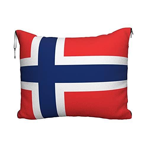 Manta de viaje portátil 2 en 1 para sofá de avión, almohada para coche, oficina, hogar, dormir siesta, bandera de Noruega