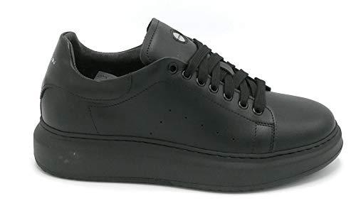 Exton EX955 Sneaker Veters Leer Zwart - Schoen 39 Kleur Zwart