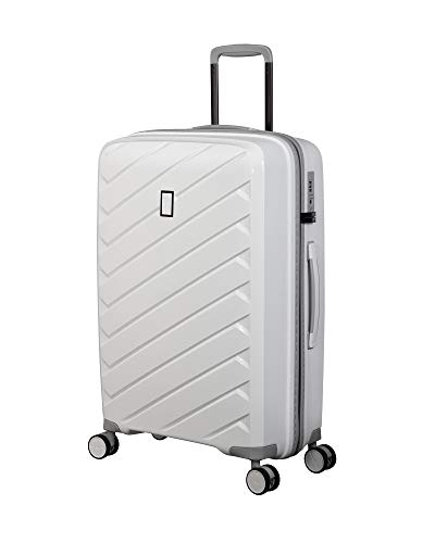 it luggage Influential Hardside Spinner, White, Checked-Medium 26-Inch