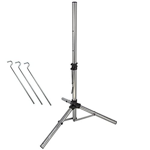 PremiumX - Trípode para Antena parabólica (32 mm de diámetro, 120 cm, Acero, Incluye 3 piquetas de Acero), Color Plateado