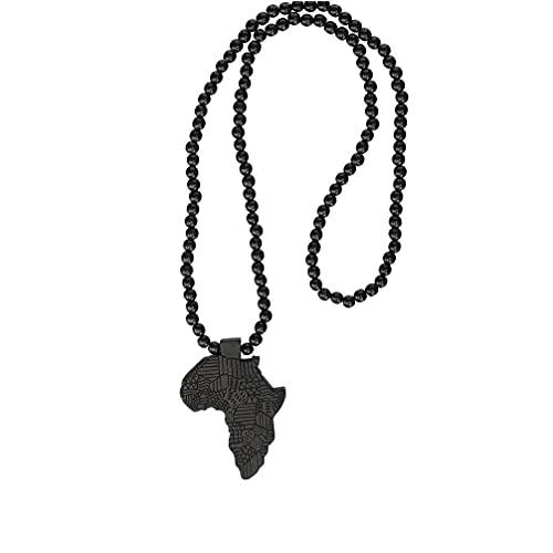 iuNWjvDU Collar de Madera Collar de Madera Cadena Gargantilla Collar Mapa Africano Colgante Collar Delicado Perlas Collar de clavícula para Mujeres Regalo, artículos Decorativos