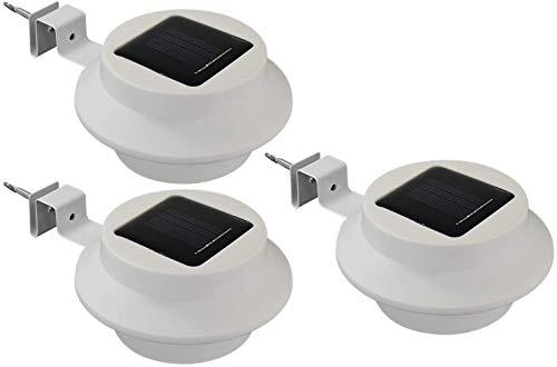 Alma Garden 3er Set LED Solar-Leuchte für Dachrinne, kaltweiß inkl. Akku und Montagematerial. Wandleuchte/Außenleuchte für Haus, Garten oder Ihre Terrasse, Weiß