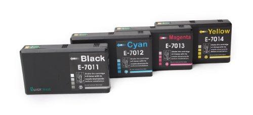 4XXL Cartucce d' inchiostro con chip compatibili con Epson T7011T7014(T7015Multi Pack) Je 1X NERO, CIANO, MAGENTA e giallo compatibile per Epson Workforce Pro wp4015wp4025wp4095wp4515wp4525wp4535wp4545wp4595/WP 4015WP 4025WP 4095WP 4515WP 4525WP 4535WP 4545WP 4595