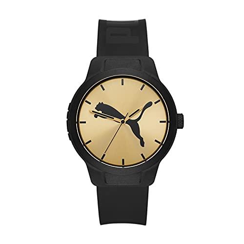PUMA Men's Reset V2 Polycarbonate Quartz Watch with Polyurethane Strap, Black, 20 (Model: P5085)