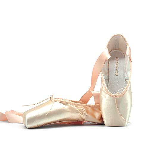 DANCEYOU Spitzenschuhe Ballettschuhe Tanzschuhe Ballettschläppchen mit genähtem Band für Mädchen und Damen EU 38