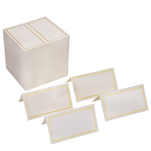 Fasmov 200 Pack 2 x 3.5 Inches Place Cards, Gold Foil Border- Table Tent Cards Seating Place Cards for Weddings Banquets Dinner Parties