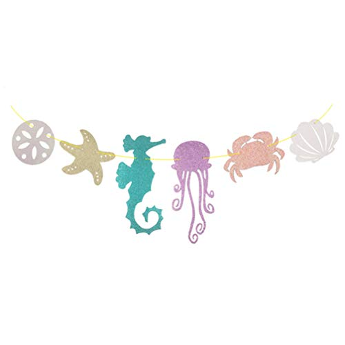 Tinksky Hawaiian Luau Garland Seahorse Jellyfish Seashell Crab Sea Star Glitter Banner for Summer Pool Birthday Party Decoration