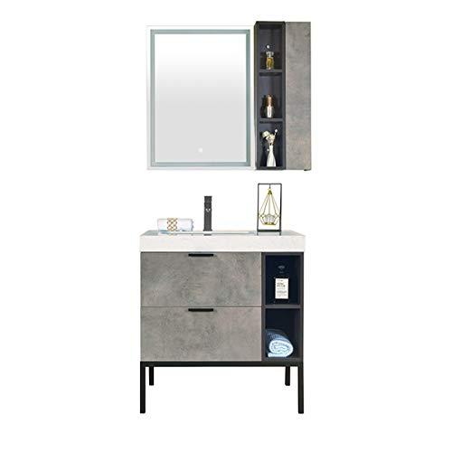 JenLn Gabinete de baño de pie Combinado Lavabo Combinado gabinete del gabinete del Espejo Fregadero de cerámica con gabinete de Medicina. (Color : Gray, Size : 50x80x85cm)