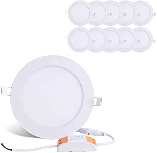 Brillihood 12W 6-inch Ultra-thin Round LED Recessed Ceiling Panel Down Light Lamp with Driver, 1,000 Lumens, 80W Incandescent Equivalent, 5000K Daylight, Home, Office, Commercial Lighting Pack of 10