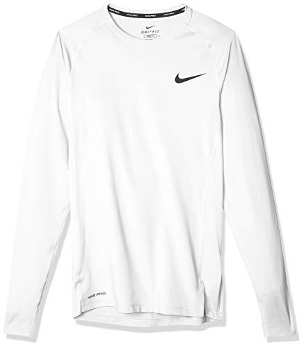 Nike PRO, Maglia A Maniche Lunghe Uomo, Bianco (White/Black), L