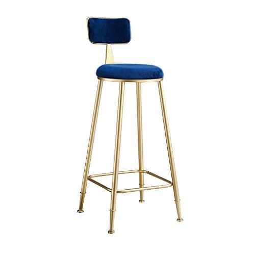 JHSLXD Creativo Bar Sedia d'oro Alta Sgabello da Bar Sedia Ristorante in Ferro Battuto Decorazione Frontale Sedia di Metallo Dining Chair Decorazione della Mobilia,Blu,60CM