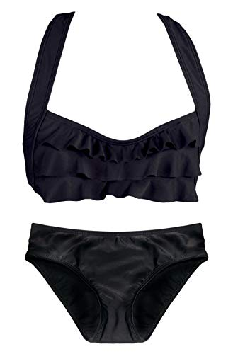 Fin Fun Sea Wave, Mermaid Bikini Set, Black, Girl's Small