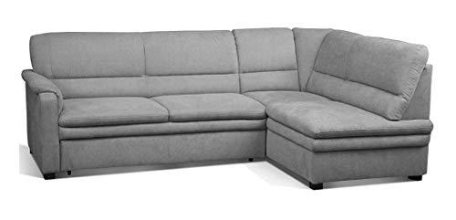 Cavadore Ecksofa Pisoo / L-Sofa mit hochwertigem Federkern im klassischen Design / Ottomane rechts / Größe: 245 x 89 x 161 cm (BxHxT) / Farbe: Hellgrau (grey)