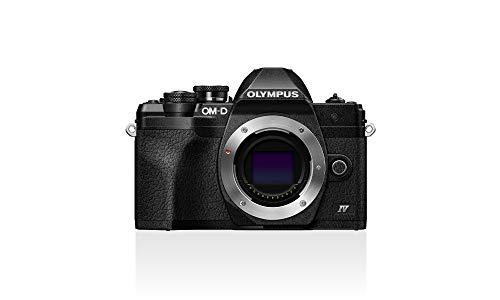 Olympus OM-D E-M10 Mark IV Micro-Four-Thirds-Systemkamera, 20 MP Sensor, 5-Achsen-Bildstabilisation, Selbstporträt-LCD-Bildschirm, elektronischer Sucher, 4K-Video, leistungsstarker AF, Wi-Fi, schwarz