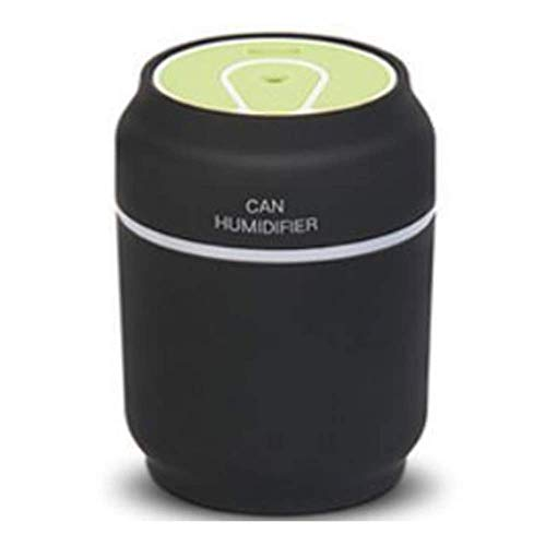 MQJ Humidificador Latas Puerizador Usb Humidificador Recargable/Led Light/Fan 3In 1 Accesorios de Coche de Casa Portátil,Negro