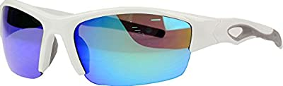 Rawlings 132 Youth Baseball Sunglasses - Lightweight Sports Boys Sun Glasses for Running, Cycling and Casual Wear - Plastic Frame & Polycarbonate Lens (White/Blue)