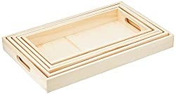 Multicraft 5-Piece Wooden Tray Set