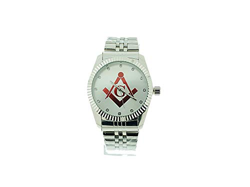 Men's Masonic Steel Tone Watch,Masonic Freemason Watch for Men, Luxurious Edition, Shriner, Stainless Steel Metal Band, Model 865 by Captain Bling