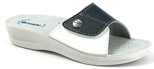 inblu Ciabatte, Pantofole Donna MOD. VR-45 Velcro Blu Linea Benessere (39 EU)