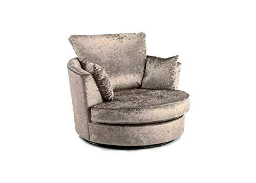 Glitz Crushed Velvet Swivel Chairs/Cuddle Chair (Mink)