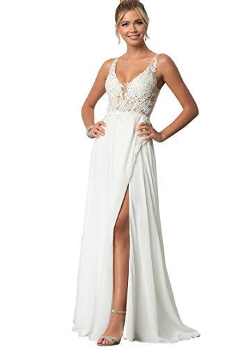 Women's V Neck Lace Bodice Slit Chiffon A Line Beach Wedding Dresses Long Formal Dress White US10