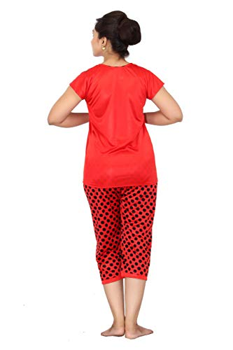 Fabme Women's Polka Dots Satin Night Suit (Top and Pyjama) (Red) (Size - Large   Bust 38