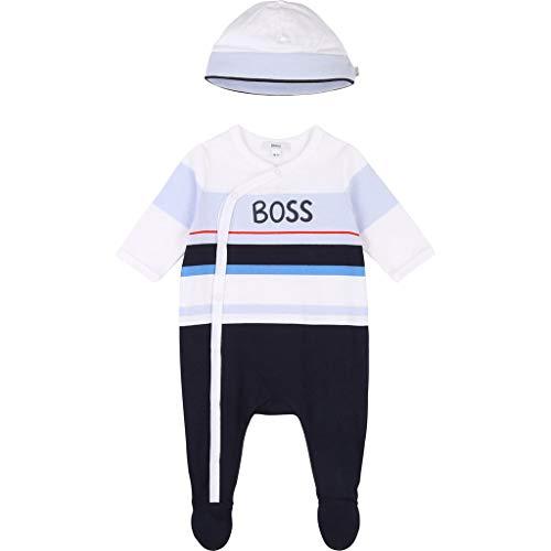 BOSS Baby 2tlg. Set Strampler + Mütze Jungen Outfit Pyjama J98275 Marine (6 Monate (68))