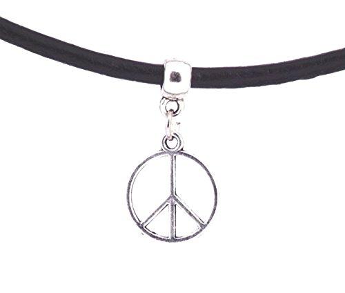 Gargantilla de cordón de cuero color negro real, collar con terciopelo retro con un talismán vintage de plata tibetana, de...