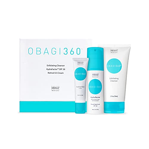 Obagi Medical 360 System, 3 Piece Kit. Includes: Exfoliating Face Cleanser, HydraFactor Broad Spectrum SPF 30 Sunscreen, Retinol Moisturizer Cream for Face. Pack of 1