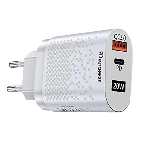 MaylFre Adaptador de Corriente PD Cargador de Enchufe de Pared C QC3.0 Cargador rápido 20W USB con Puertos duales del teléfono móvil Cargadores Blanca, Cargador
