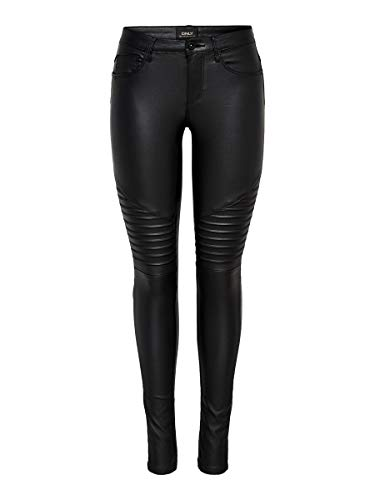 ONLY Damen Onlnew Royal Reg Sk. Biker Coated Noos Hose, Black, M 32L EU