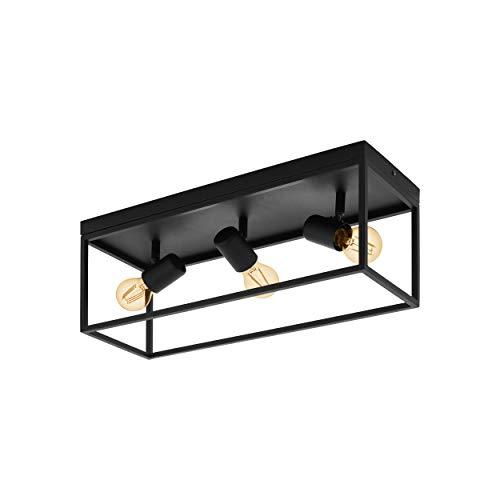 EGLO Deckenlampe Silentina, 3 flammige Deckenleuchte Modern, Industrial aus Stahl, Wohnzimmerlampe in schwarz, Küchenlampe, Flurlampe Decke mit E27 Fassung