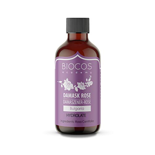 Organiskt rosenvatten (certifierat) - organiskt rosenvatten - ren, äkta ansikts tonic tillverkad av damastroser utan alkohol - naturligt, fuktgivande blommande vatten - naturkosmetika för huden - 100 ml