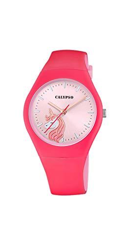 CALYPSO Reloj Modelo K5792/6 de la colección Sweet Time, Caja de 39 mm Fucsia con Correa de Caucho Rojo para señora