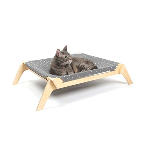 Primetime Petz Pet Lounge, Raised Indoor Pet Bed for Cats or Small Dogs, Reversible Fabric Hammock (Neutral Paint Spots/Crosses)
