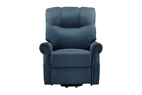 Power Lift Recliner Chair with Remote and Side Pocket Electronic Fabric Multifunctional Uses Recliner Sofa Single Chair for Elderly for Home Office Bluish Grey
