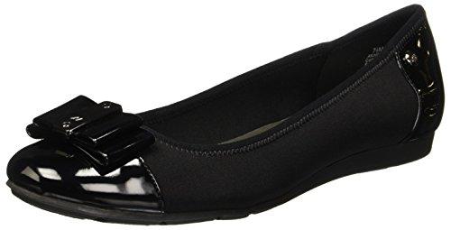 Anne Klein Sport Womens Aricia Patent Round Toe Flats Black 10, Black, Size 10.0