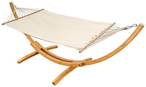 AMANKA XXL Hangmat met Houten Frame - Hangmatstandaard Tuin Hammock voor 2 Personen Beige