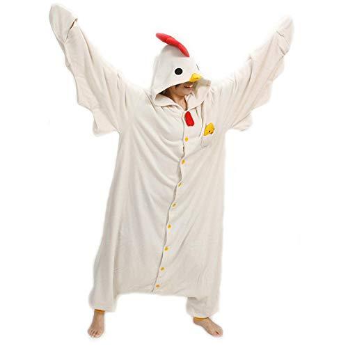 MA Pijama Conjunto de Pijama Unisex Animal Adulto Pollo Blanco Onesies Pijama Disfraces Cosplsy Linda Ropa de Dormir acogedora para Hombre y Mujer Homewear-Pollo Blanco_L