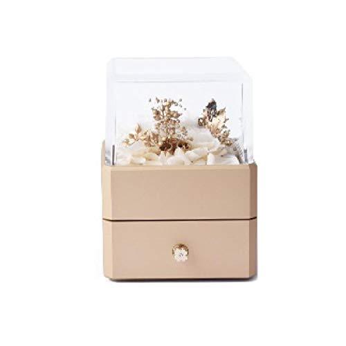 Parshall Caja de joyería para pendientes, anillo de almacenamiento cuadrado con luz LED eterna, bandeja de almacenamiento de joyería de alta gama, 85 x 85 x 115 mm, oro