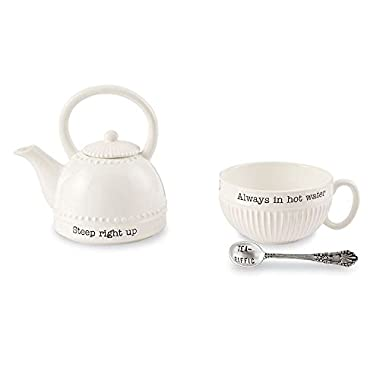 Mud Pie 4301011 Mini Teapot Set, One Size, White