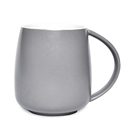 Bosmarlin Matte Ceramic Coffee Mug, Grey Tea Cup for Office and Home, 13 oz, Dishwasher and Microwave Safe, 1 Pack (Grey)