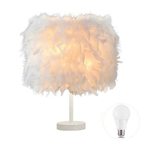 1 Pack Feather Tischlampe Nachttischlampe Feather Nachttisch Lampenschirm Tisch Hellweißer Sockel mit 3W Glühbirne für Wohnzimmer, Schlafzimmer, Restaurant, Wohnkultur, S.