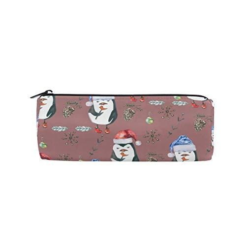Bonipe Aquarell-Etui mit Weihnachtsmütze, Pinguin-Design, für Schule, Schreibwaren, Stiftebox, Reißverschluss