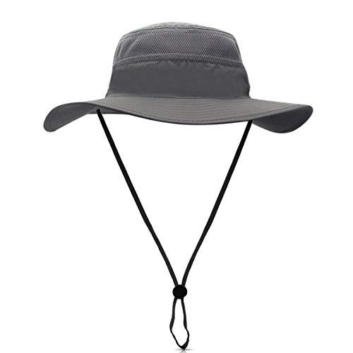 DORRISO Unisexe Chapeau Soleil Pliable UPF 50 + Anti UV Vacances Alpinisme Outdoor Étanche Chapeau de Voyage Safari Casquette Homme Femme Bucket Hat Gris